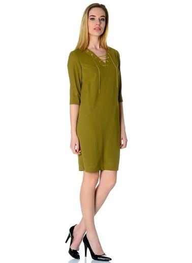 Cotton Bar Yakası Bağcıklı Kısa Elbise Yeşil
